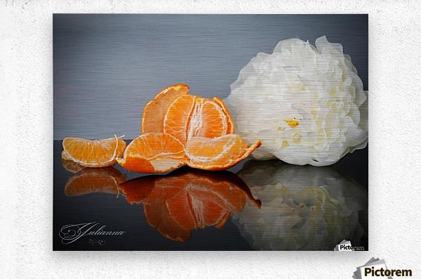 Orange sparkle   Metal print