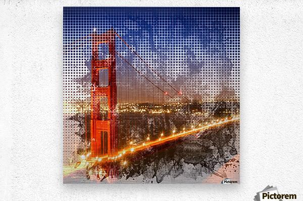 Graphic Art Golden Gate Bridge   watercolour style  Metal print