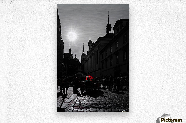Le parapluie rouge  Metal print