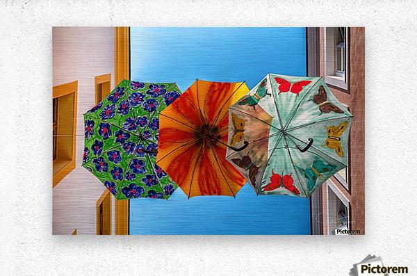 La ruelle des parapluies  Metal print