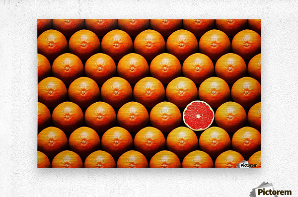 Grapefruit slice between group  Metal print