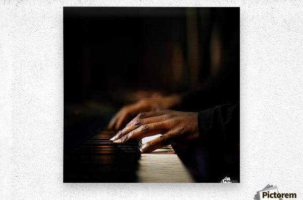 Hands playing piano close-up  Metal print