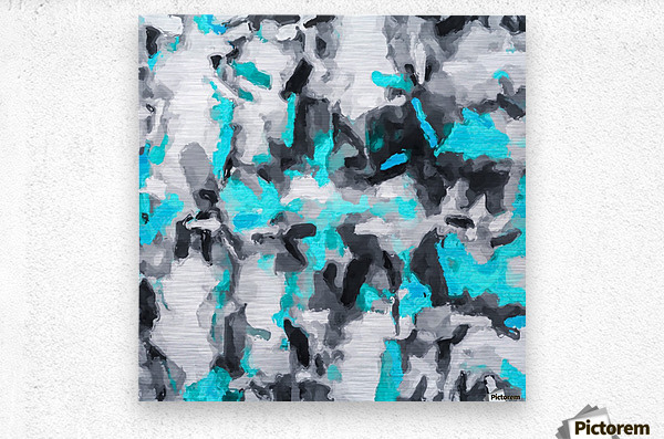 splash painting texture abstract background in blue and black  Metal print