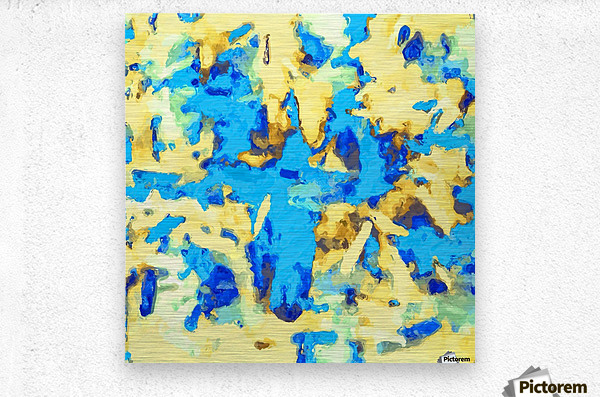 splash painting texture abstract background in blue and yellow  Metal print