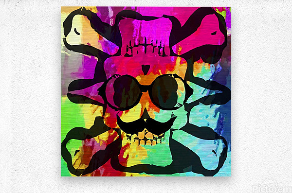 old vintage funny skull art portrait with painting abstract background in red purple yellow green  Metal print