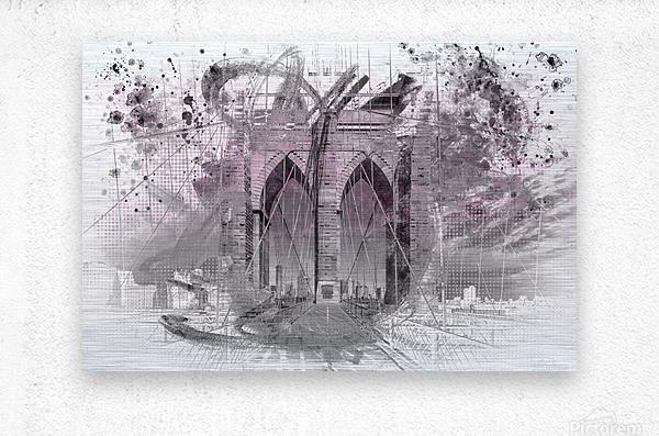 City Art Brooklyn Bridge in Detail     Metal print