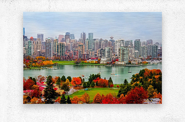 colorful autumn landscape of a modern city by the river  Metal print