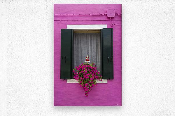 Colored window in Burano  Metal print
