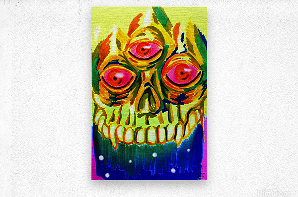 Three eyed skull painting  Metal print