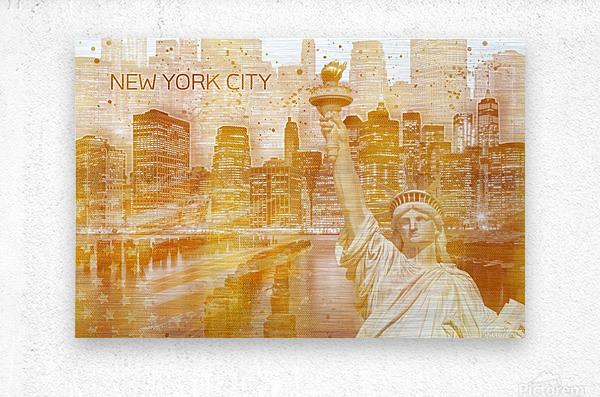 Graphic Art MANHATTAN Collage | golden  Impression metal