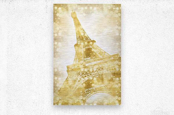 EIFFEL TOWER | golden illusion  Metal print