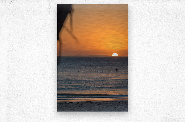 Taking a moment to watch the sunrise  Metal print