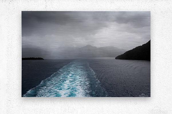 Leaving Fiordland New Zealand  Metal print