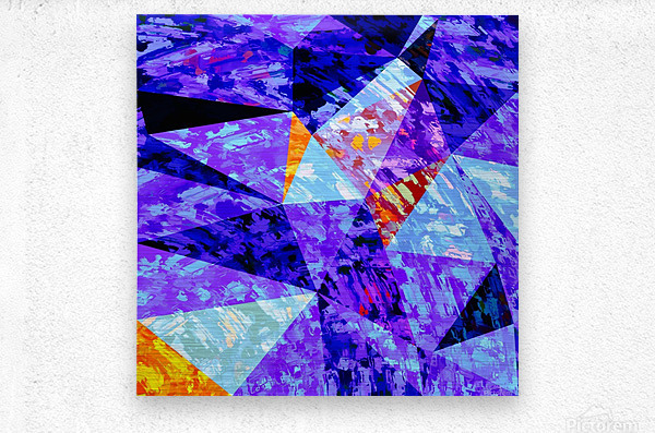 vintage psychedelic geometric triangle polygon pattern abstract in purple blue orange  Metal print