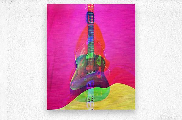 Guitar on Pink   Metal print