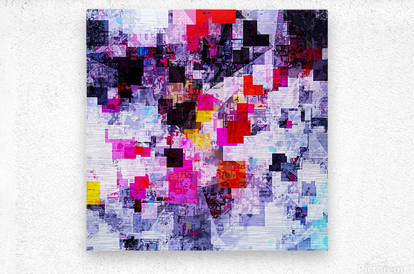vintage psychedelic geometric square pixel pattern abstract in pink red blue purple  Metal print
