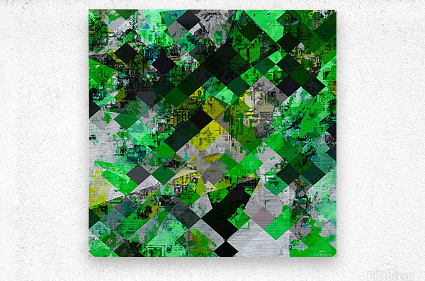 vintage psychedelic geometric square pixel pattern abstract in green and yellow  Metal print