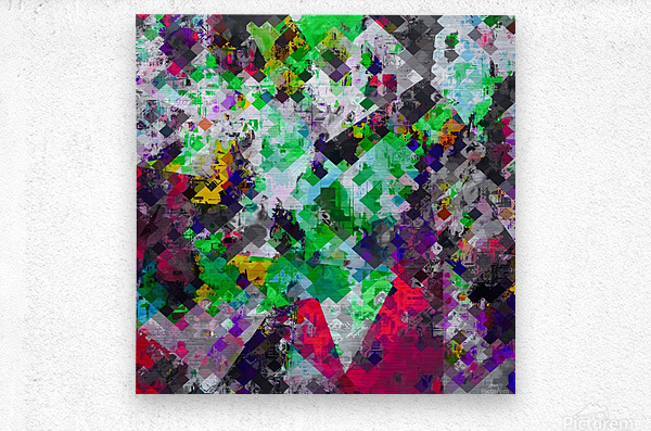 vintage psychedelic geometric square pixel pattern abstract in green red purple yellow  Metal print