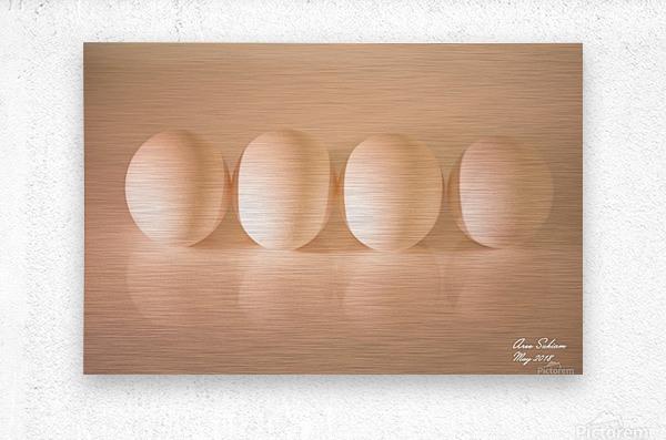 White Egg On Canvas warm light version  Metal print