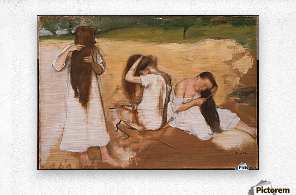 Women Combing Their Hair  Metal print