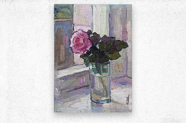 Rose in the Glass  Metal print