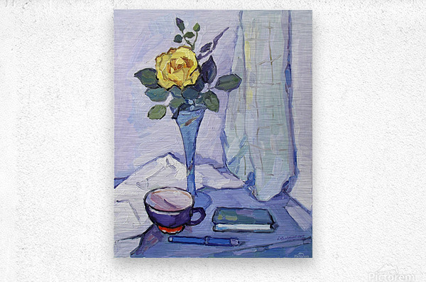 Still Life with Yellow Rose  Metal print