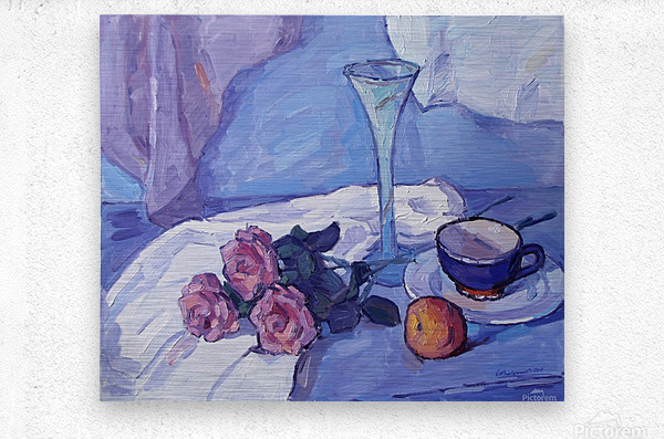 Still Life with Purple Roses  Metal print