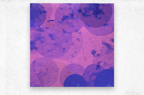 geometric circle and square pattern abstract in pink purple  Metal print