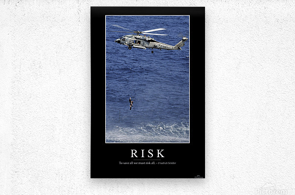 Risk: Inspirational Quote and Motivational Poster  Metal print