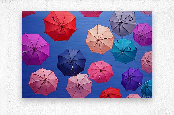 Colorful umbrella  Metal print