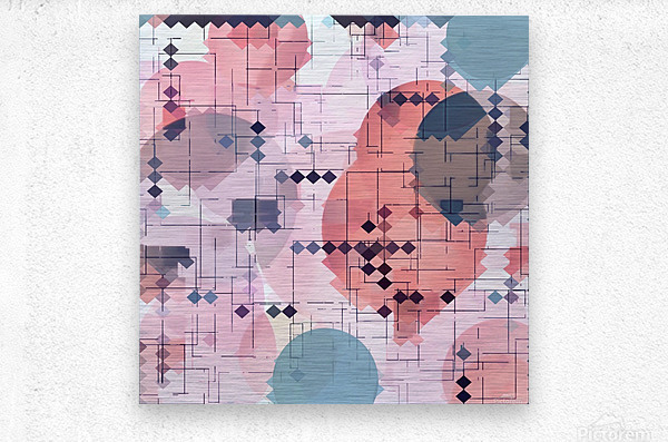 geometric square pixel pattern abstract with circle pattern background in red pink blue  Metal print
