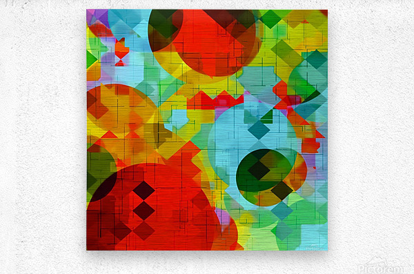 geometric square pixel and circle pattern abstract in red blue yellow  Metal print