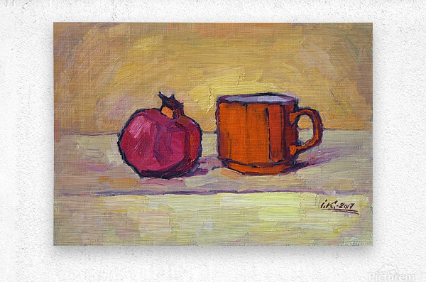 Pomegranate and Red Cup  Metal print