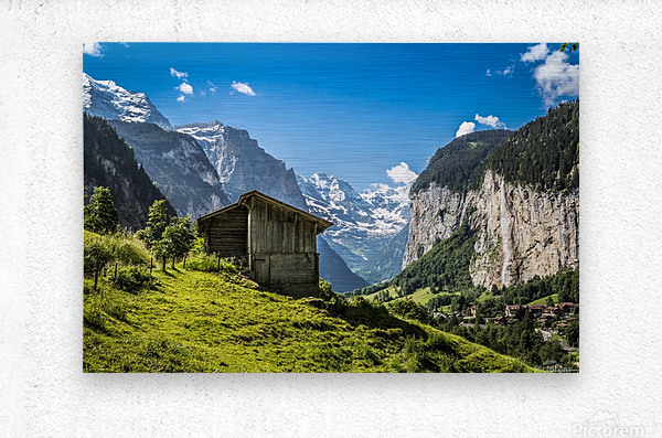 Hut in the valley  Metal print