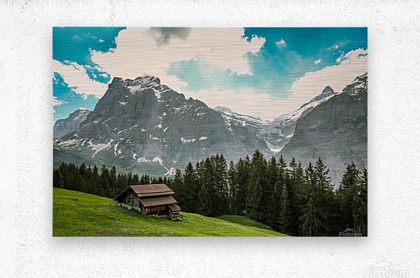 Hut on a hill  Metal print