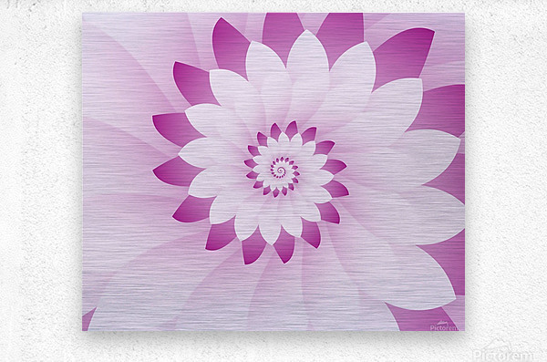 Abstract Pink & White Floral Design Art  Metal print