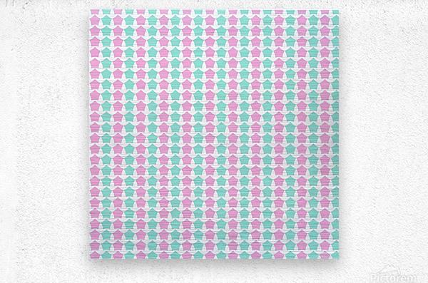 Pink _ Blue Star Seamless Pattern Artwork  Metal print