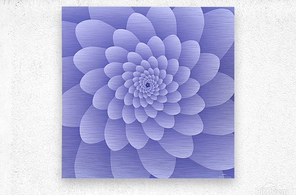 3D Modern Purple  Floral Art  Metal print