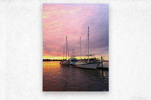 Sunset Sailboat  Metal print