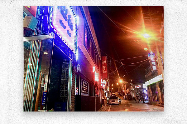 Korean Street at Night  Metal print