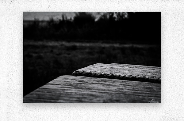 Wooden Bench At The Sea  Metal print