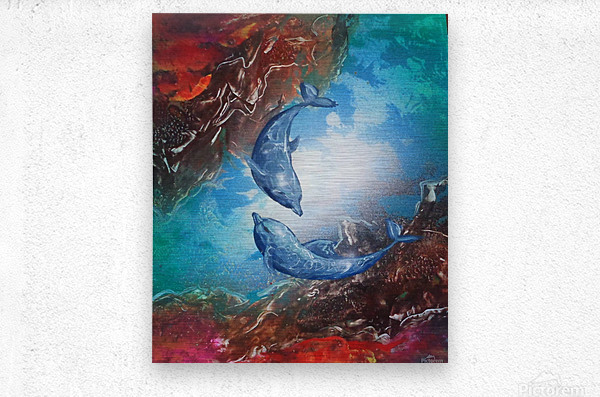 Dolphins play  Metal print