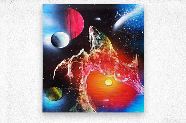 Bridge planets  Metal print