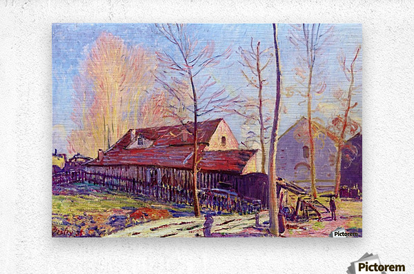 The Mills of Moret, Frost, Evening Effect  Metal print