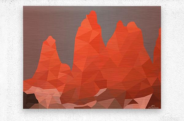Torres del Paine National Park Low Poly Art   Impression metal