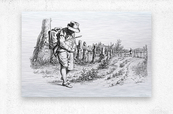 Traveler On A Country Road_OSG  Metal print