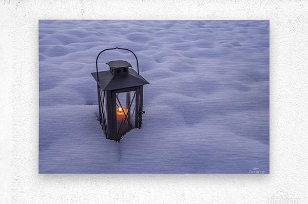 Lantern in the snow  Metal print