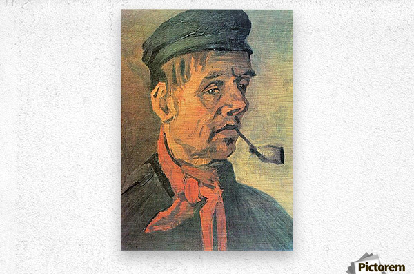 Head of a farmer with a clay pipe by Van Gogh  Metal print
