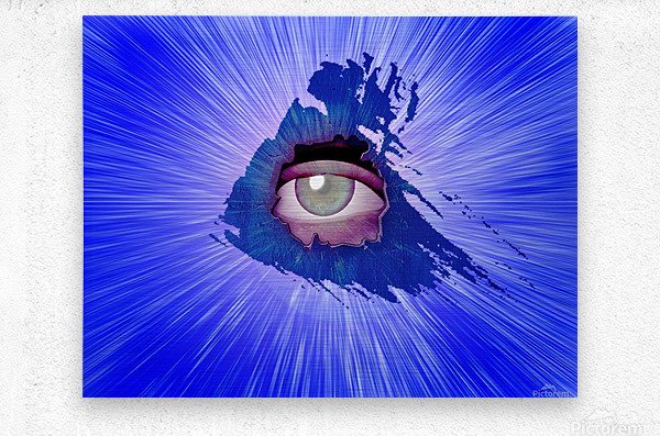Eye behind wall crack  Metal print