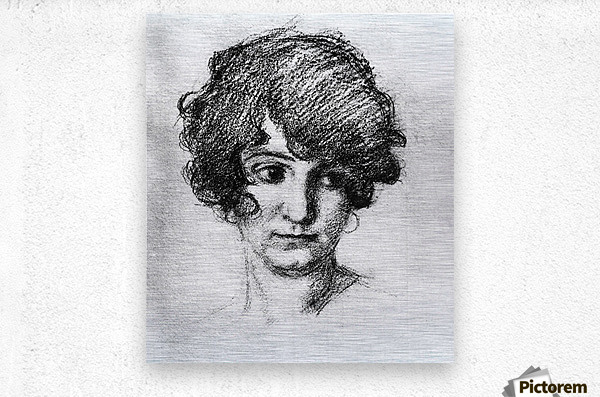 Head of the daughter of the artist, Lorli  by Albin Egger-Lienz  Metal print